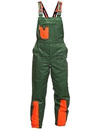 WOODSafe Schnittschutzhose Klasse 1, kwf-geprüfte Forsthose, Latzhose grün/orange, Herren - Waldarbeiterhose Größe 56