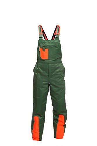 Schnittschutzhose Klasse 1, Forsthose WOODSafe®, kwf-geprüft, Latzhose grün/orange, Herren - Waldarbeiterhose mit Schnittschutz Form A, leichtes Gewicht, Größe 58