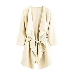ESAILQ Frau Casual Wasserfall Kragen Pocket Front Wrap Mantel Jacke Outwear(L,Beige)