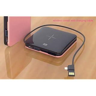 MeterMall Mini-Powerbank, kabellos, 10000 mAh, dünn, Spiegelbildschirm, 2,1 A, schnelles Aufladen Rose Gold
