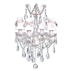 Jubilee Collection 78006 4 Light Crystal Glass Center Chandelier, Pink