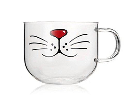 DSstyles gato barba gato boca de cristal taza de café con tapa para m