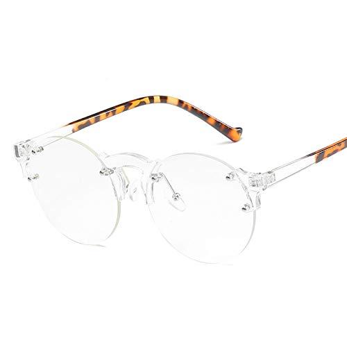 YMTP Round Optical Frame Frauen Vintage Brillen Rahmen Mens Fashion Lesebrille Randlos, Transparente Leopard