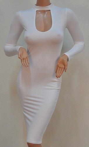 ALAIX abito Keyhole Open-Busto aderente matita partito delle donne Bianco