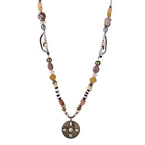 Quanjucheer Bohemia Harz Holz Perlen Lange Kette Anhänger Halskette geeignet für Frauen Charme Party Schmuck Multi -