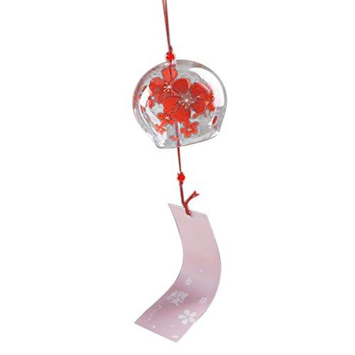 Gazechimp Colgante de Campana Carillón de Viento Vidrio Chimes Floral