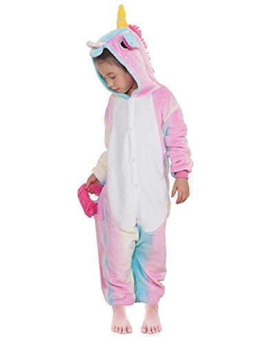Kinder Pyjamas Tier Einhorn Jumpsuit Nachtwäsche Unisex Cosplay Kostüm für Mädchen und Jungen (115/Größe:125-135cm, Helle Regenbogenfarben)