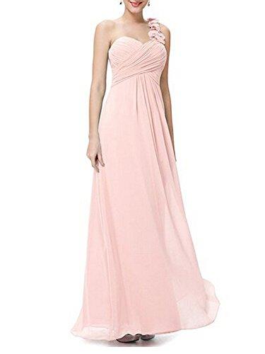 Donna Elegante Senza Maniche Spalla In Chiffon Casual Cocktail Party Vestito Lunga Vestiti Rosa