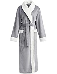 BELLOO Women s Luxury Loungewear Plush Fleece Dressing Gown Full Long f41972567