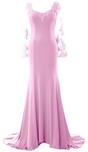 MACloth Women Long Sleeve Mermaid Lace Jersey Formal Prom Dress Evening Gown Rosa