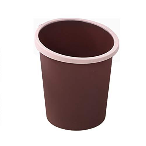 2 UNID Bote De Basura Hogar Plástico Sin Lecho Basura Oficina Sala De Estar Cocina Aseo Papelera De Basura Con Anillo De Presión Fijo,Coffee