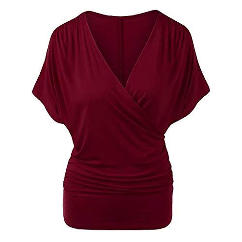 CixNy Damen T Shirts, Kurzarm Bluse Camisole Trägershirts Sommer Einfarbig V-Ausschnitt Batwing Sleeve Crop Slim Fit Vest Weste Oberteil Tops (H-Wein, XX-Large)