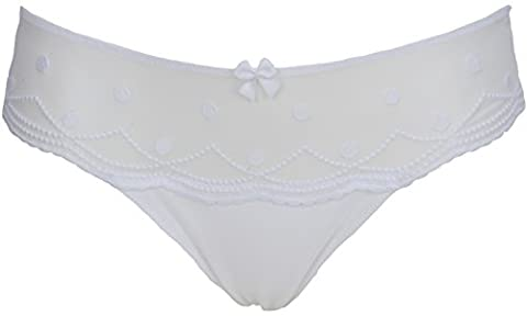 Ex Store White Embroidered Bikini Dot Mesh Knickers Size 8