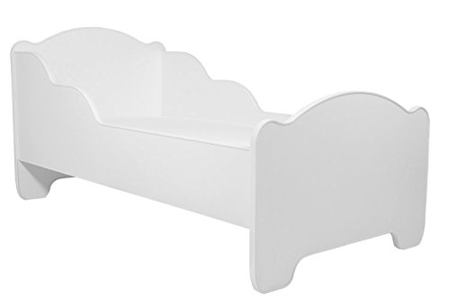 La cama infantil BLANCO cama para niños infantil el tamaño 140x70 con el colchón