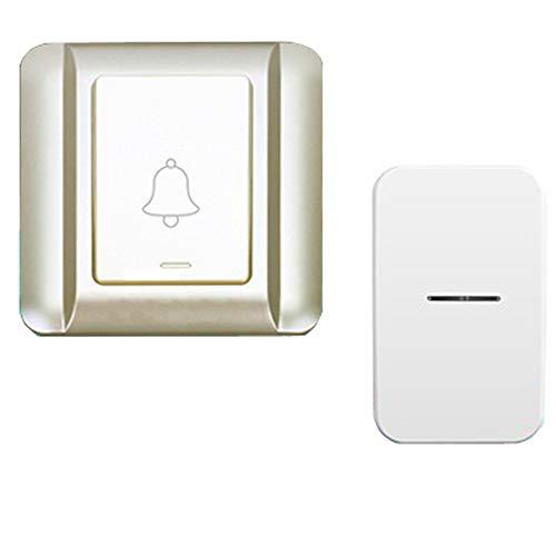 wireless door bell Intelligente wasserdichte Drahtlose TüRklingel, Selbstgenerierende Funktion, 120 M Reichweite, 25 MusikklingeltöNe, Blaue Led-Lichter, Gold -