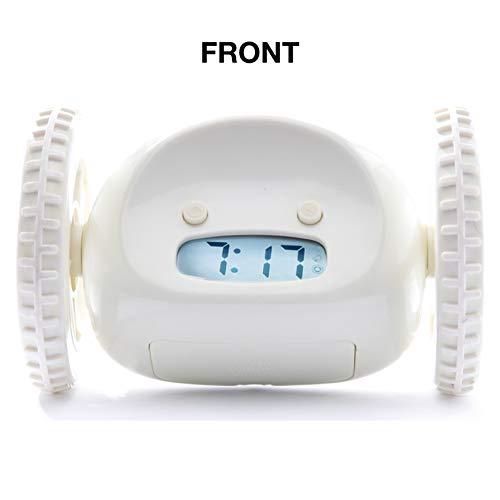 Clocky, el Despertador Original que Rueda  Niños y Adultos (el  más ruidoso para Durmiente Pesado, Habitación) Guay, Divertido Clockie Salta, Persigue, Huye, Móbil (Blanco)