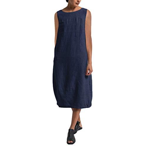 Overdose Damen Freizeit Kleider Blusenkleider Lässige Rundhals Einfarbig Casual Urlaub Sommerkleider Strandkleid Midi Dress Frauen kostüme übergröße