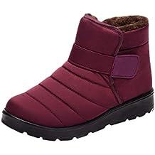 Kairuun Botas de Nieve Hombre Mujer Calientes Botines Zapatos de Invierno Más Terciopelo Color Sólido