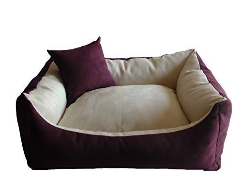 LZK Hundebett - Hundekissen - Hundesofa abwischbar mit extra Kissen (Größe und Farbe Wählbar) (XL - 120cm x 80cm x 25cm, 050. Zwetschgen-Ecru (Option 2))