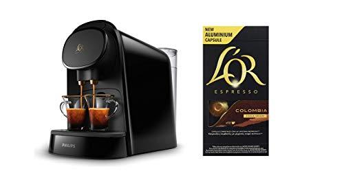 Pack Philips LOR Barista LM8012/60 - Cafetera compatible con cápsula individual/doble, 19 bares presión, depósito 1L, color negro + LOr Espresso Colombia 5 paquetes 10 cápsulas