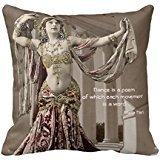 Mata Hari Vintage Bellydance Dancer Quote manta funda de almohada