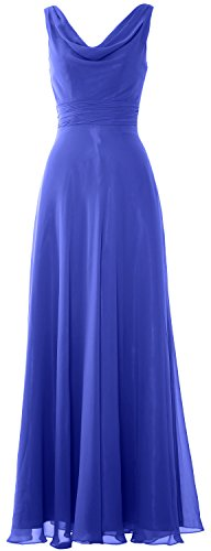 MACloth Women Long Cowl Neck Wedding Party Bridesmaid Dress Formal Gown Royal Blue