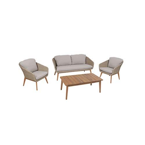 greemotion Murcia Loungemöbel Set 4-teilig für Garten und Terrasse mit Tisch aus Holz, braun, 1 x 1 x 1 cm