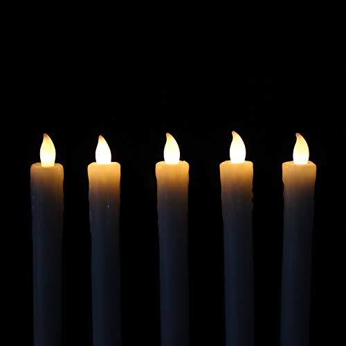 Rhytsing 5 flammenlose Led Stabkerzen Tafelkerzenmit Timer Funktion, Druckknopf, Warmweißes Licht, 25cm, Fernbedienung und Batterien enthalten
