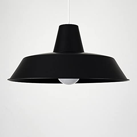 Extra Large Retro Style Gloss Black Metal Reflector Ceiling Pendant Light Shade