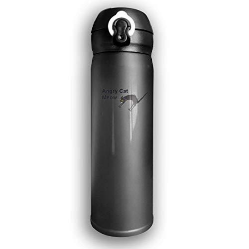 Bestqe Edelstahl-Trinkflasche,Doppelwandige Vakuum Isolierte Wasserflaschen Angry Cat Auslaufsichere Thermosflasche 17 Oz -