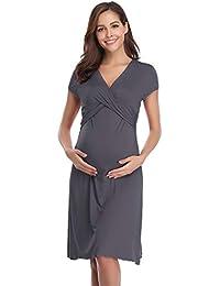 a8c9d3d99e6b2 Hawiton Women's Breastfeeding Nightdress Maternity Pyjamas Set Nursing  Nightwear Full Length Nightshirt A-line Hospital