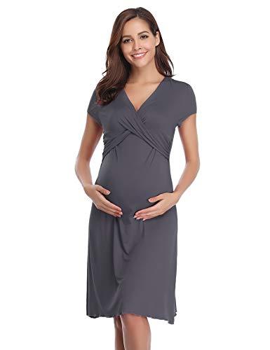Hawiton Damen Umstands Kleid Nachthemd für Schwangerschafts Umstandsmode Stillnachthemd Kurz V Ausschnitt mit Wickeloptik Dunkelgrau L -