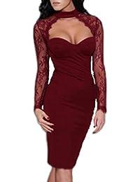 MYWY - Vestito donna con maniche lunghe in pizzo elegante abito aderente 2609e154ce7
