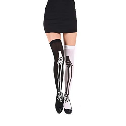 biteri Skelett-Leggings Skelett Strumpfhose Damen Knochen Skeleton Nylonstrumpfhose schwarz für Adult Helloween Kostüm (Adult Punk Zombie Kostüm)