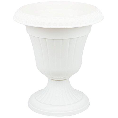 Pflanzpokal dekorative Amphore Pflanzgefäß Schale Vase weiss H 56 cm Blumentopf Milano