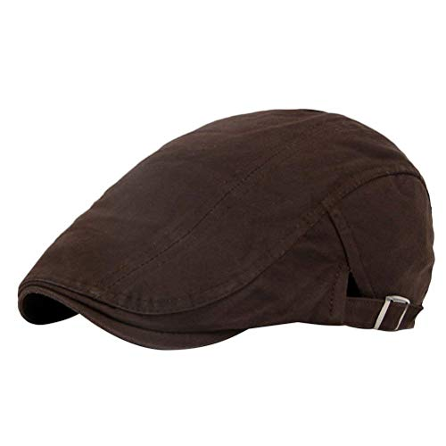 Herren Männer Fashion Unifarben Baskenmütze Newsboy Modernas Driving Lässig Hat Vintage Cotton Flat Cap Schiebermütze Schirmmütze (Color : Brown, Size : One Size)