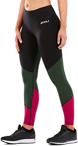 2XU Damen Fitness Mid-Rise Tights-Wa5389b Kompressionsstrümpfe S Black/Mntn View Virtual Pink