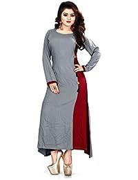 Saryu E Fabric Women's Rayon Cotton Grey & Maroon Stitched Long Kurtis