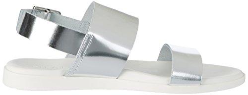 Pieces Pslane Leather Silver, Sandales Compensées Femme Argent (Silver Colour)