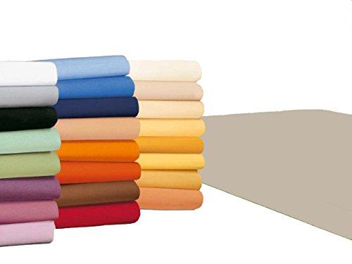 badtex24 Spannbettlaken 90 100 x 200 Spannbetttuch Bettlaken Jersey 100% Baumwolle 20 Farben Ecru 90x190-100x200cm