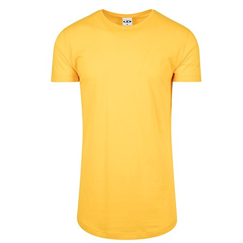 Urbandreamz Herren T-Shirt Shaped Long Tee Rundhals Chrome Yellow - M - (Tee T-shirt Gelbes)