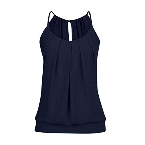 n Camisole Rundhals Armellosen Chiffon T-Shirt Stretch Tunika Tank Top (Ausgefallene Halloween Kostüme Für Frauen)