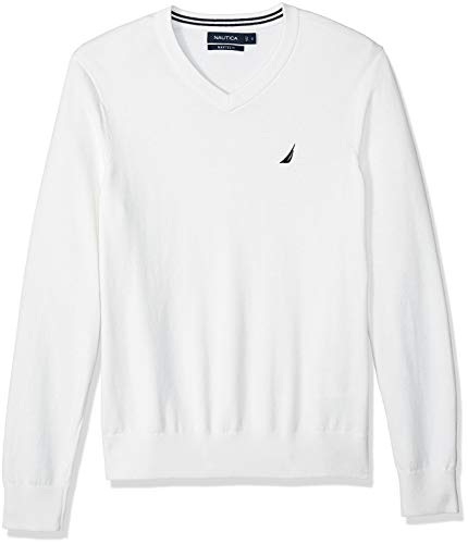 Nautica Herren Classic Fit Soft Lightweight Jersey V-Neck Sweater Pullover, Marshmallow, X-Groß -