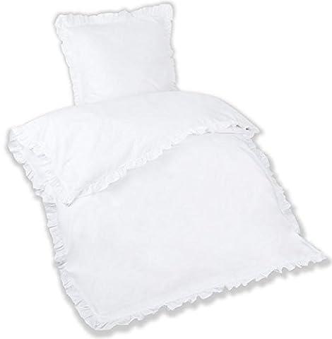 Aminata – romantisches 2-teiliges Bettwäsche-Set mit Rüschen   Baumwolle +