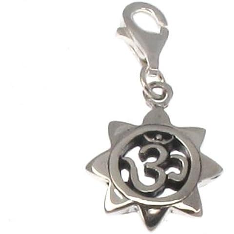 Plata de Ley Clip en encanto–Om En Mandala de loto
