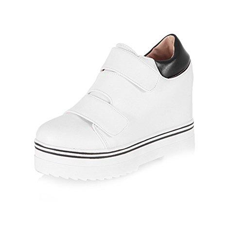 AllhqFashion Femme Matière Mélangee Rond à Talon Haut Velcro Couleur Unie Chaussures Légeres Blanc