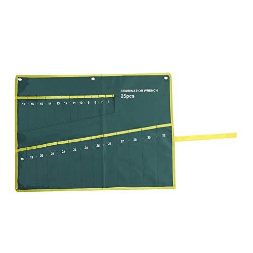 Grüne Farbe Set Schraubenschlüssel Taschen Multi-Tasche Leinwand Aufrollen Werkzeuge Aufbewahrungstasche Spanner Zangenschlüsselhalter Veranstalter(05)