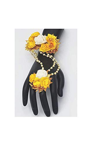 sarthak fashion jewellery Yellow Golden Gota Patti Necklace, Hath Phool, Earrings and Mang Tika for Women