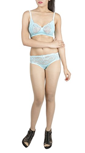 LITTLE LACY World's Best EMO & Rasal Lycra Full Cup Designer Bra & Panty Set ( Janet_10_Ferozi_38B)  available at amazon for Rs.420