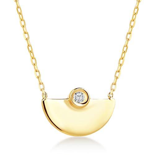 Damen Halskette aus 14 Karat - 585 Echt Gelbgold Kette mit Halbmond-Anhänger - und Diamant (0.01ct), Geschenk für Geburtstag Weihnachten - Kette 45 cm (Diamant-halbmond Halskette)
